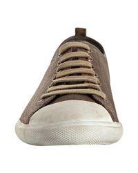Prada - Brown Sport Steel Perforated Leather Cap Toe Sneakers for Men - Lyst