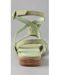 Opening Ceremony - Green Suede Pom Pom Flat Sandals - Lyst