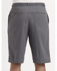T By Alexander Wang | Gray Drawstring Poplin Shorts for Men | Lyst