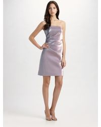 THEIA | Purple Strapless Cocktail Dress | Lyst