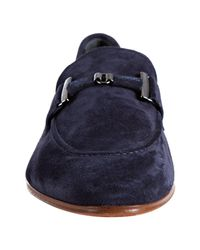 Tod's - Blue Suede Doppia T Pelle Loafers for Men - Lyst