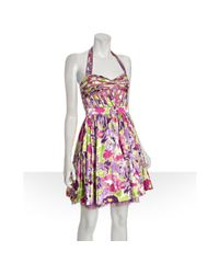 Aidan Mattox | Purple Violet Floral Printed Woven Halter Dress | Lyst