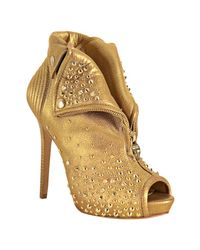 Alexander McQueen | Metallic Gold Leather Studded Zip Front Platform Booties | Lyst