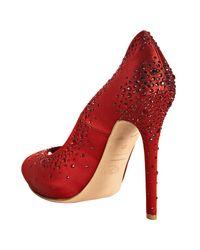 Alexander McQueen - Red Satin Crystal Appliquéd Peep Toe Pumps - Lyst