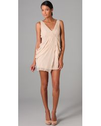 Alice + Olivia | Natural Faux Wrap Drape Dress | Lyst