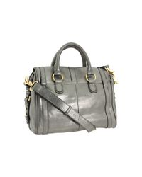 Badgley Mischka | Gray Cherise Metallic Satchel | Lyst