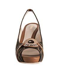 Fendi | Brown Tobacco Zucca Canvas Platform Slingback Sandals | Lyst