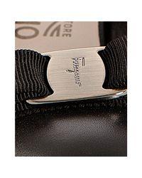 Ferragamo | Black Patent Leather Carla Grosgrain Bow Kitten Heel Pumps | Lyst
