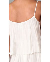 Halston | White Pleated Chiffon Cocktail Dress | Lyst