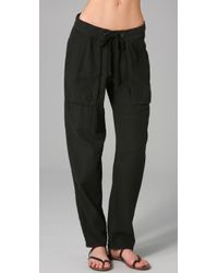 James Perse | Black Cotton Straight-leg Pants | Lyst