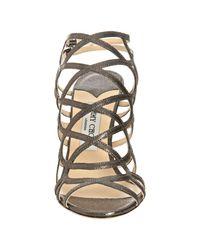 Jimmy Choo - Gray Zinc Glitter-printed Leather Platform Sandals - Lyst