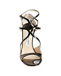 Jimmy Choo | Black Patent Leather Lance Sandals | Lyst