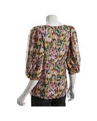 Leifsdottir - Fiesta Pink Feather Print Silk Chiffon Blouse - Lyst