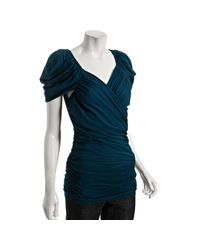 Leifsdottir | Blue Teal Cotton-silk Wing Ruched T-shirt | Lyst