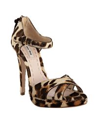Miu Miu | Multicolor Leopard-print Calf Hair Sandals | Lyst