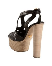 Prada | Black Stitched Shined Leather Platform Sandals | Lyst