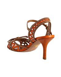 Prada | Orange Papaya Zigzag Leather Ankle Strap Sandals | Lyst