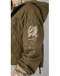 PRPS - Green Cropped Military Jacket with Embroidery - Lyst