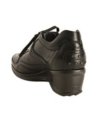 Tod's | Black Leather Sporty Flip Up Wedge Sneakers | Lyst