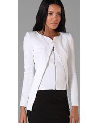 Willow - White Diagonal Zip Bandage Jacket - Lyst