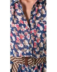 Charlotte Ronson - Blue Floral Romper - Lyst