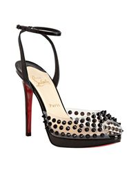 Christian Louboutin | Black Patent Spiked St Jeanette 120 Ankle Strap Pumps | Lyst