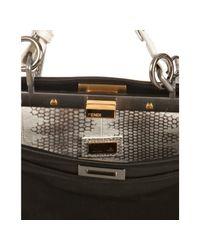 Fendi - Black Shantung Satin Peekaboo Snake Detail Mini Bag - Lyst