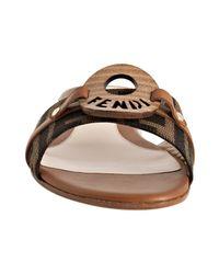 Fendi - Light Brown Zucca Canvas Logo Detail Slides - Lyst
