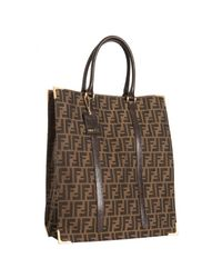 Fendi | Brown Tobacco Zucca Canvas Tall Shopper Tote | Lyst