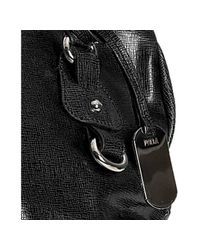 Furla - Black Leather Corniola Ruched Top Handle Bag - Lyst