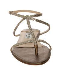 Jimmy Choo | Metallic Gold Mirrored Leather Fiona Flat Thong Sandals | Lyst