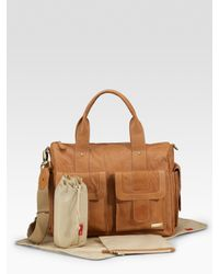 Storksak | Brown Leather Baby Bag | Lyst
