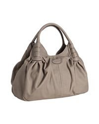 Tod's - Gray Turtledove Leather Ivy Sacca Media Shoulder Bag - Lyst