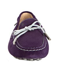 Tod's - Purple Violet Suede Heaven Boatstitch Loafers - Lyst