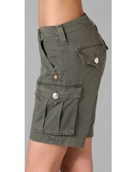 True Religion | Green Jenna Loose Cropped Cargo Short | Lyst
