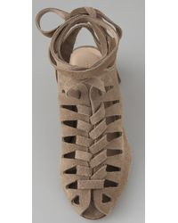 Loeffler Randall - Brown Roni Suede Lace Up Sandals - Lyst