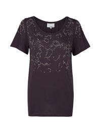 3.1 Phillip Lim | Gray T-shirt with Fading Rhinestones | Lyst