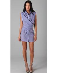 L.A.M.B. | Purple Wrap Button Down Shirtdress | Lyst
