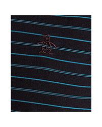 Original Penguin - True Black Striped Cotton Rounded Collar Polo for Men - Lyst