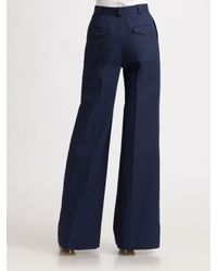 Dior | Blue Cotton Wide-leg Pants | Lyst