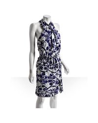 Gucci | Blue Floral Silk Wrap Front Halter Dress | Lyst