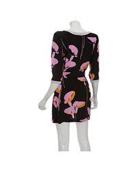Miu Miu | Black Floral Print Silk V-back Drop Waist Dress | Lyst