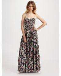 Rebecca Taylor | Black Smocked Floral Maxi Dress | Lyst
