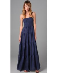 Rebecca Taylor - Blue Smocked Long Dress - Lyst