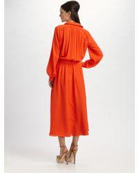 Tory Burch - Orange Silk-georgette Shirt Dress - Lyst