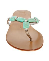 Giuseppe Zanotti - Blue Platinum Leather Jeweled Thong Sandals - Lyst