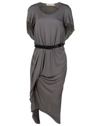 Preen Line | Gray Bell Maxi Dress with Belt | Lyst