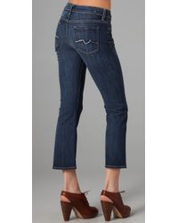 7 For All Mankind - Blue Crop Flare - Lyst