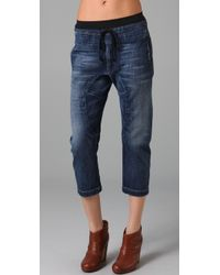 Current/Elliott - Blue The Cropped Drawstring Jeans - Lyst
