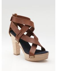 Givenchy | Brown Criss-cross Strappy Clog Sandals | Lyst